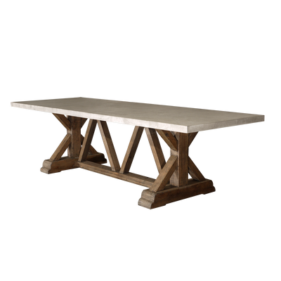 Reclaimed Timber Trestle Table with Concrete Top - Large-Organic Restoration-Blue Hand Home