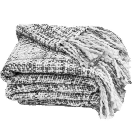 Marled Basketweave Plush Knit Throw