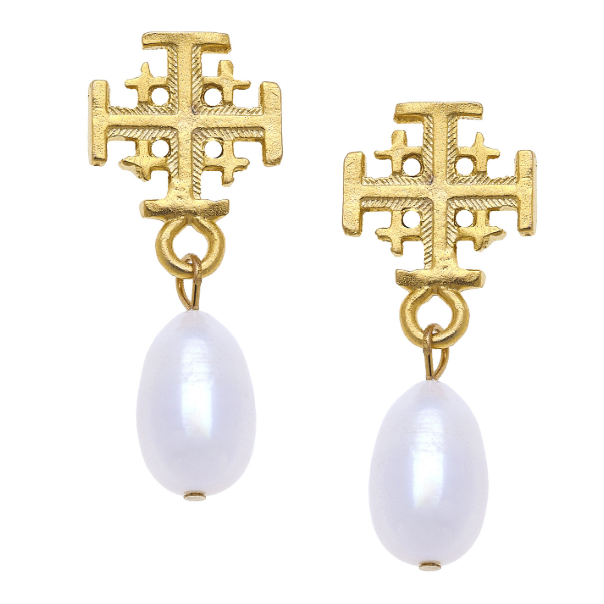 Susan Shaw Handcast Gold Multi Cross & Freshwater Pearl Earrings-Susan Shaw Jewelry-Blue Hand Home
