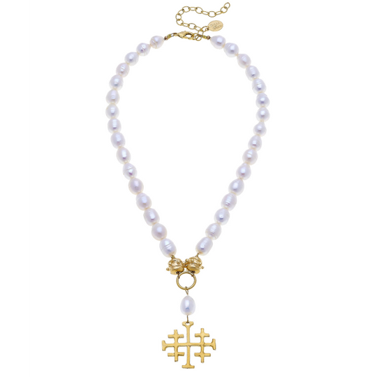 Susan Shaw Handcast Gold Multi Cross on Genuine Freshwater Pearl Necklace