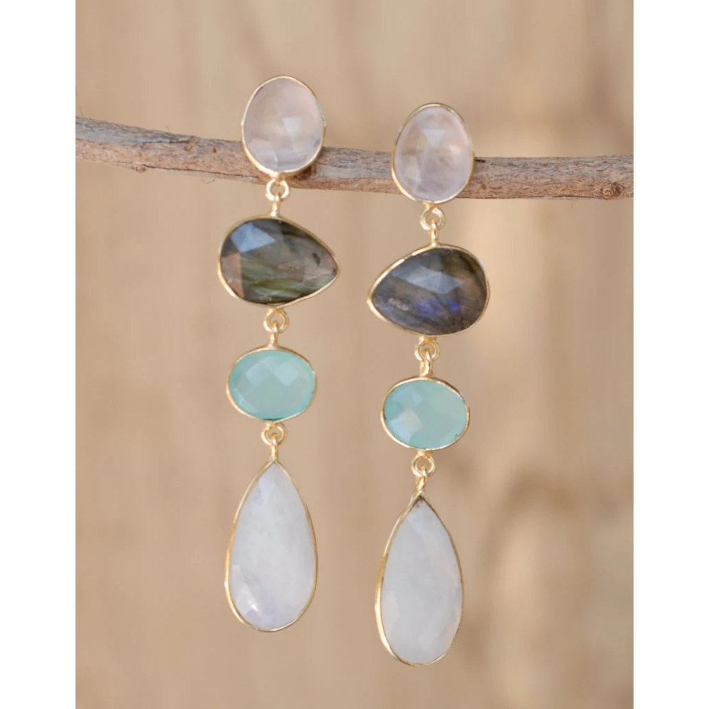 Multi Stone Drop Earrings - BJE060B-ByCila-Blue Hand Home