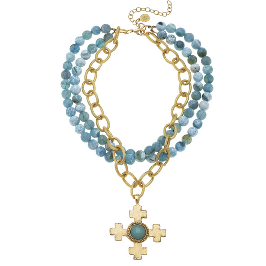 Susan Shaw Handcast Gold Cross on Multi-Strand Fire Agate & Chain Necklace