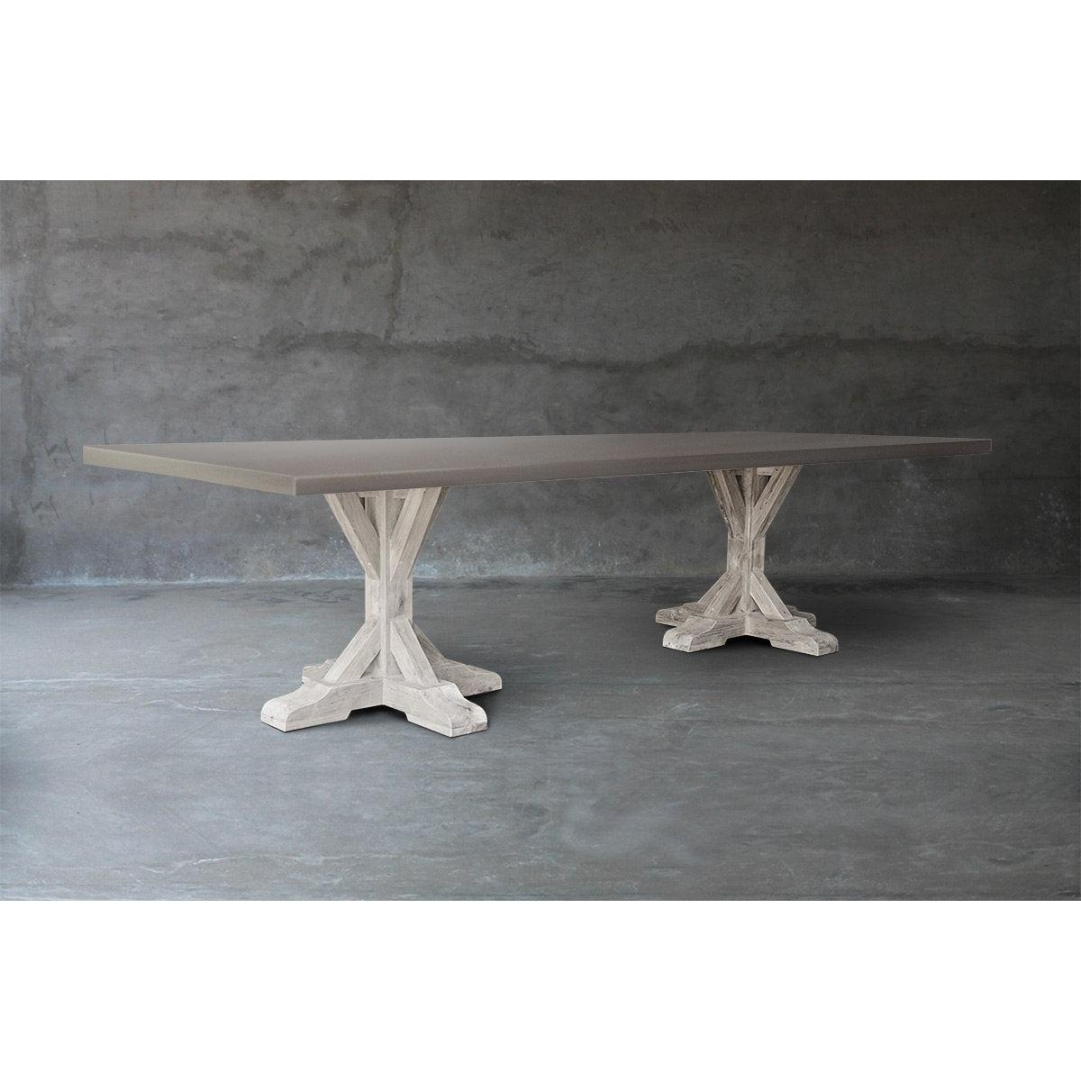 Long Concrete Top Dining Table - R Base