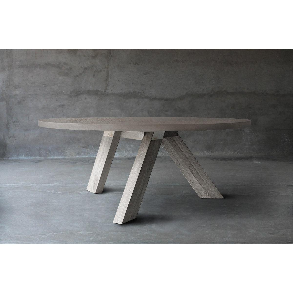 Concrete Top Dining Table - V Base-Organic Restoration-Blue Hand Home