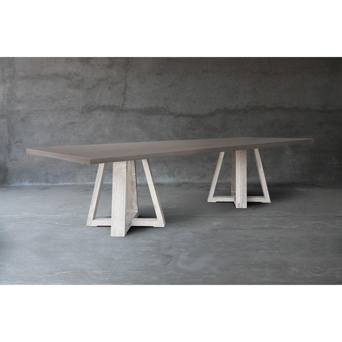 Concrete Top Dining Table - Double X Base