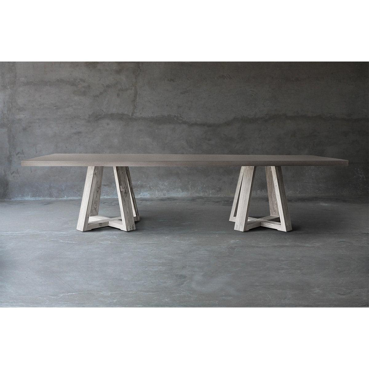 Concrete Top Dining Table - Double X Base-Organic Restoration-Blue Hand Home