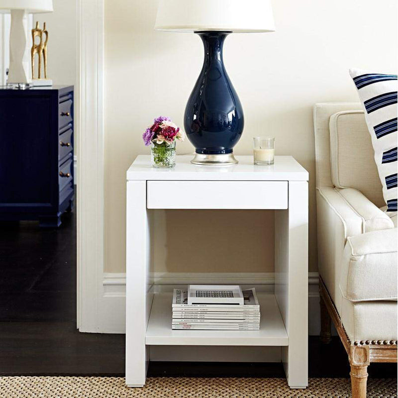 Bungalow 5 - ODOM 1-DRAWER SIDE TABLE in WHITE-Bungalow 5-Blue Hand Home