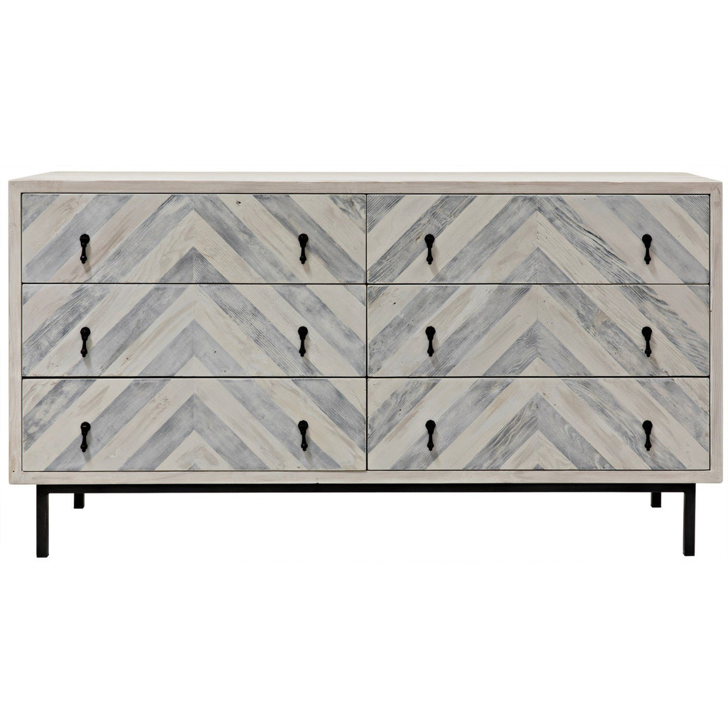 CFC Furniture Chevron 6 Drawer Dresser-CFC Furniture-Blue Hand Home
