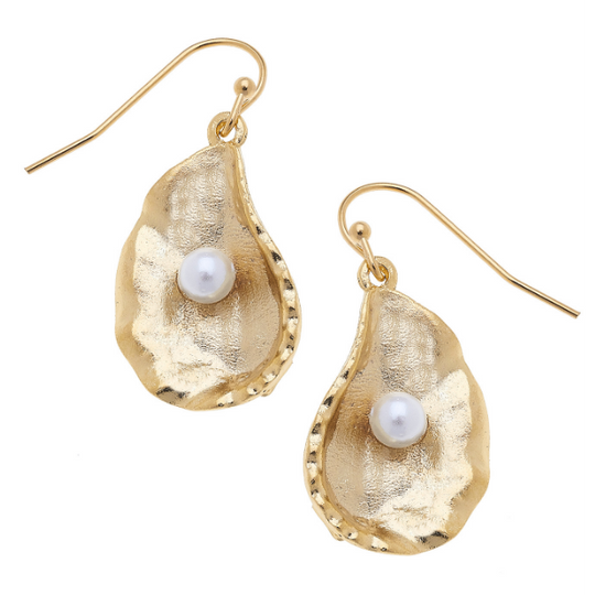 Susan Shaw Handcast Gold Oyster with Freshwater Pearl Earrings