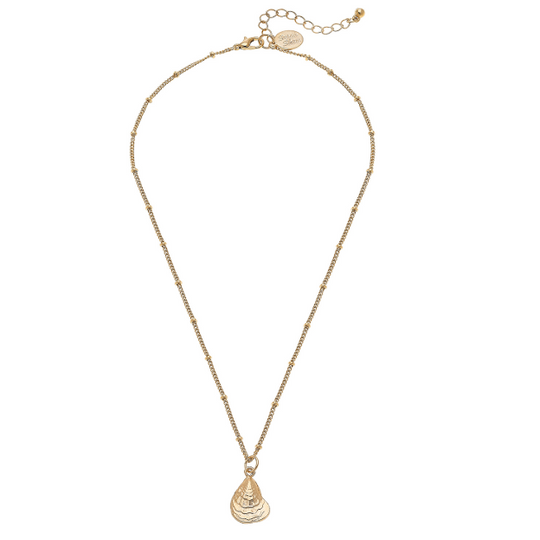 "Susan Shaw Handcast Gold Small Oyster Shell on 16"" Chain Necklace"