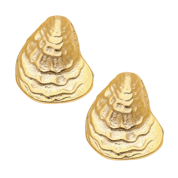 Susan Shaw Handcast Gold Oyster Shell Post Earrings-Susan Shaw Jewelry-Blue Hand Home