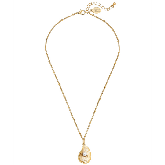 Susan Shaw Handcast Gold Oyster with Genuine Freshwater Pearl Necklace