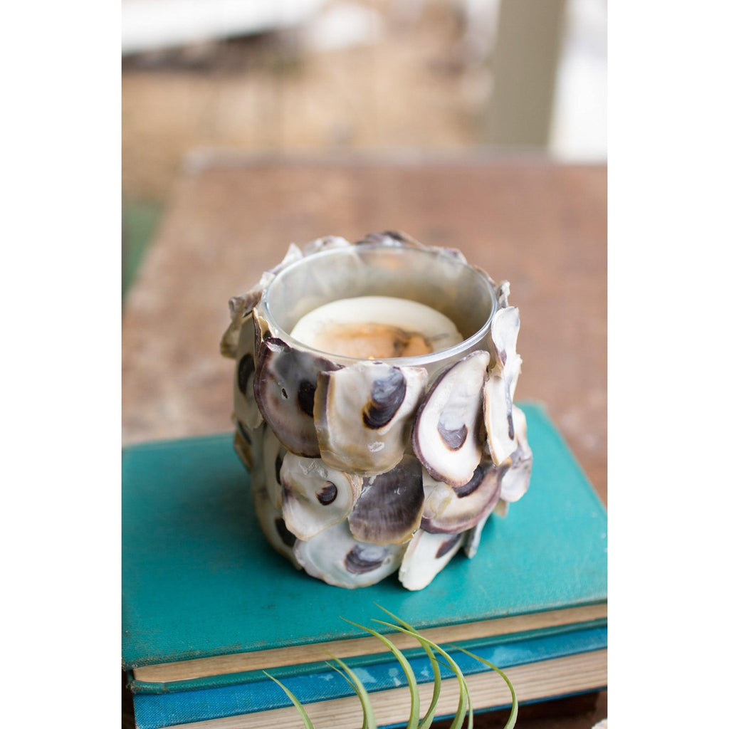Oyster Shell Round Candle Holder-Kalalou-Blue Hand Home