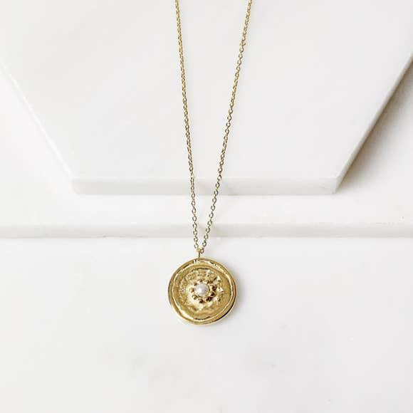 Pearl Medallion Necklace-Joya-Blue Hand Home
