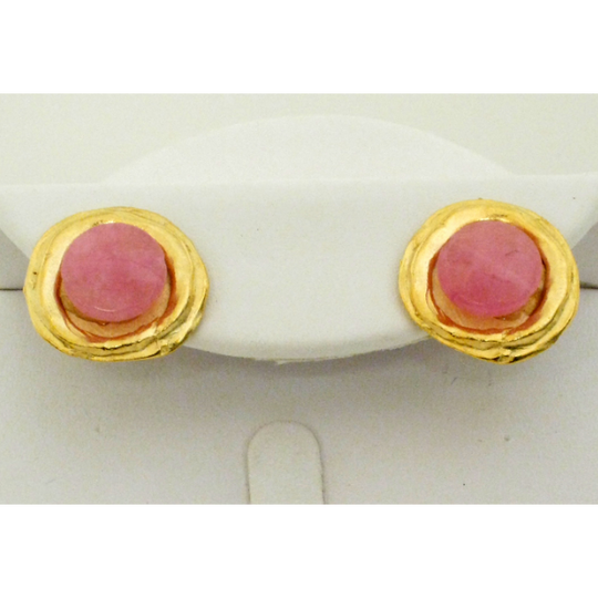 Susan Shaw Handcast Gold Genuine Pink Quartz Pierced Earrings