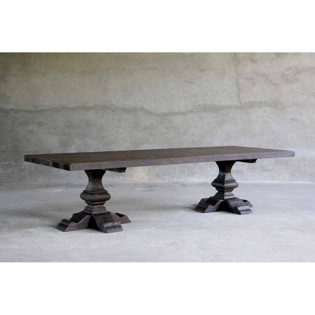"Reclaimed Elm Dining Table 118"" - Pedestal Legs"