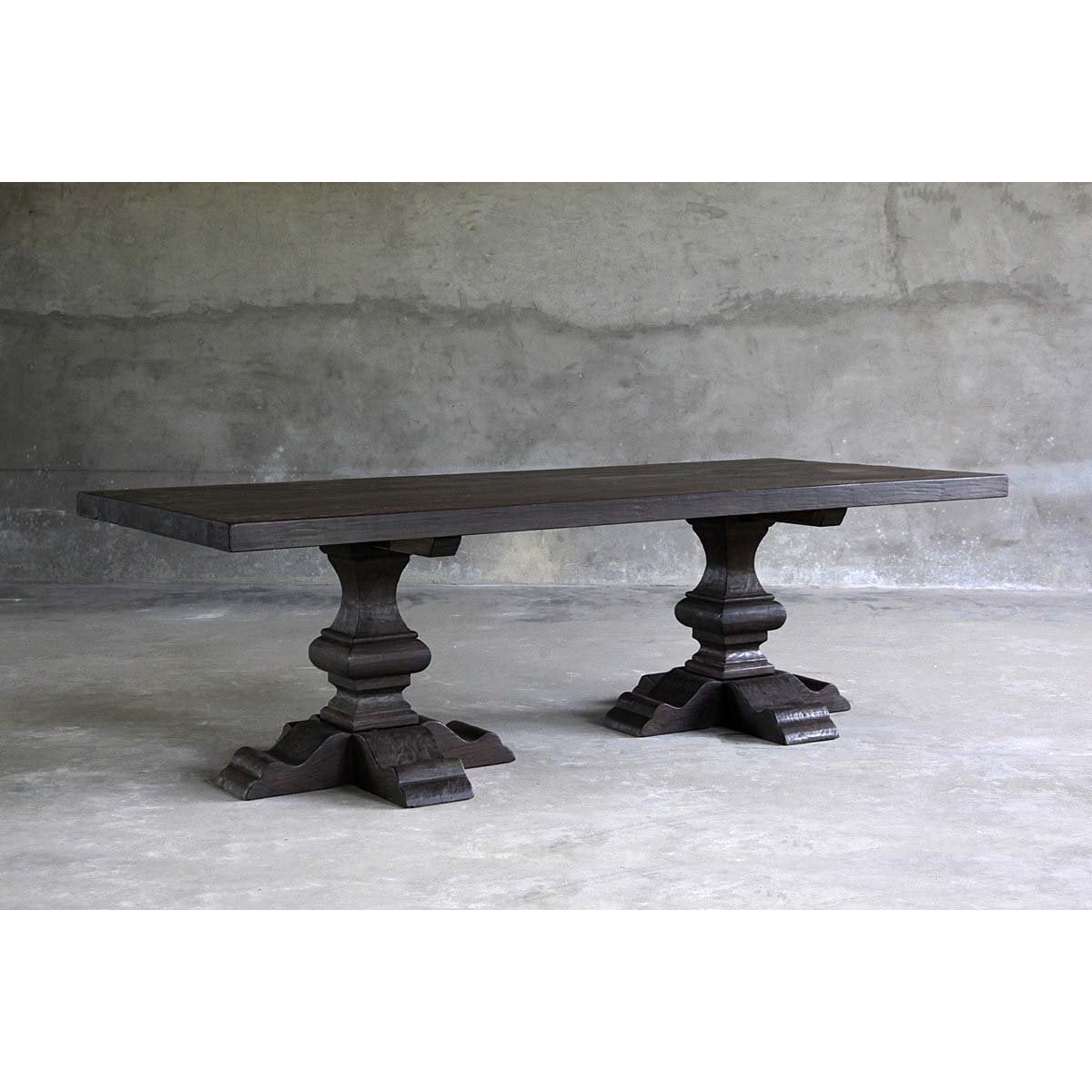 "Reclaimed Elm Dining Table 96"" - Pedestal Legs"