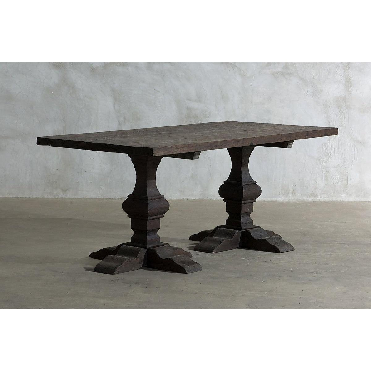 "Reclaimed Elm Dining Table 76"" - Pedestal Legs"