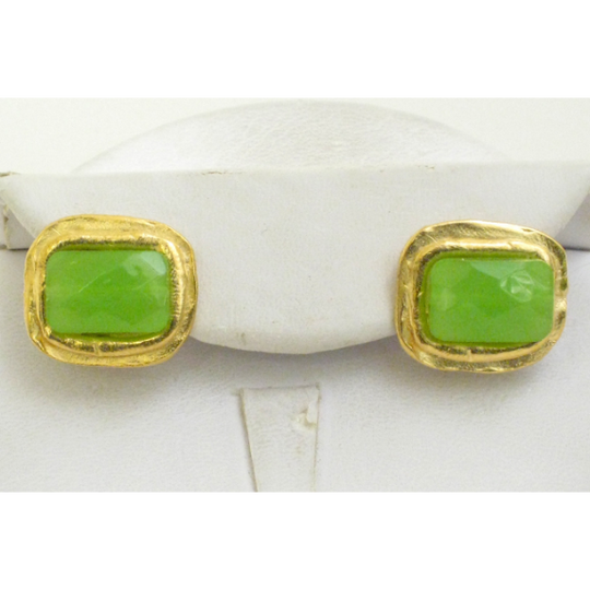 Susan Shaw Handcast Gold Rectangle & Green Quartz Pierced Earrings