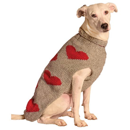 Red Hearts Dog Sweater-Chilly Dog-Blue Hand Home