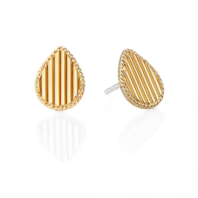 Anna Beck Ribbed Teardrop Stud Earrings