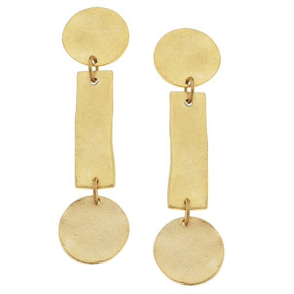 Susan Shaw Handcast Gold Round/Bar Earrings-Susan Shaw Jewelry-Blue Hand Home