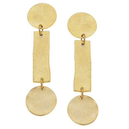 Susan Shaw Handcast Gold Round/Bar Earrings