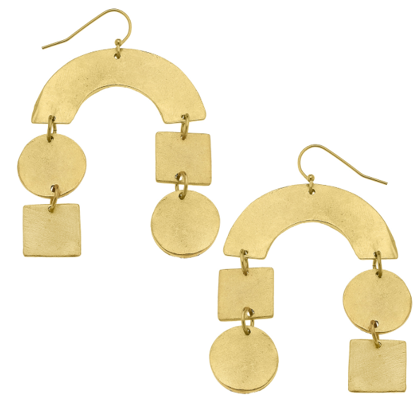 Susan Shaw Handcast Gold Curve, Round/Square Earrings-Susan Shaw Jewelry-Blue Hand Home