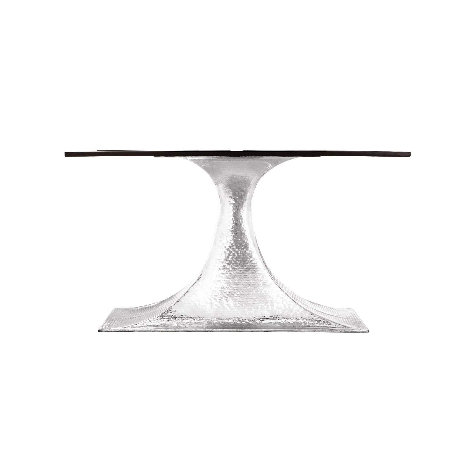 "Bungalow 5 - STOCKHOLM NICKEL OVAL DINING TABLE BASE (PAIRS WITH 95"" TOP, SOLD SEPARATELY) in NICKEL"