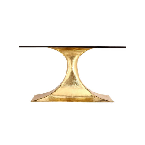 "Bungalow 5 - STOCKHOLM BRASS OVAL DINING TABLE BASE (PAIRS WITH 95"" TOP, SOLD SEPARATELY) in BRASS - Blue Hand Home"