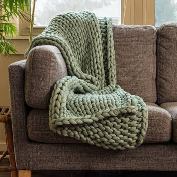 Chunky Knit Throw-American Heritage Textile-Blue Hand Home