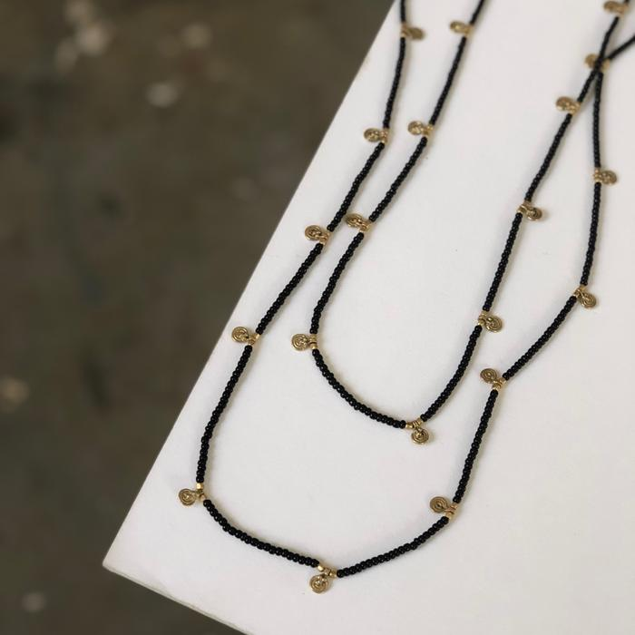 Sala Black Beaded Rope Necklace