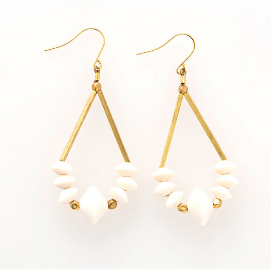 Saucer White Wood And Brass Earring