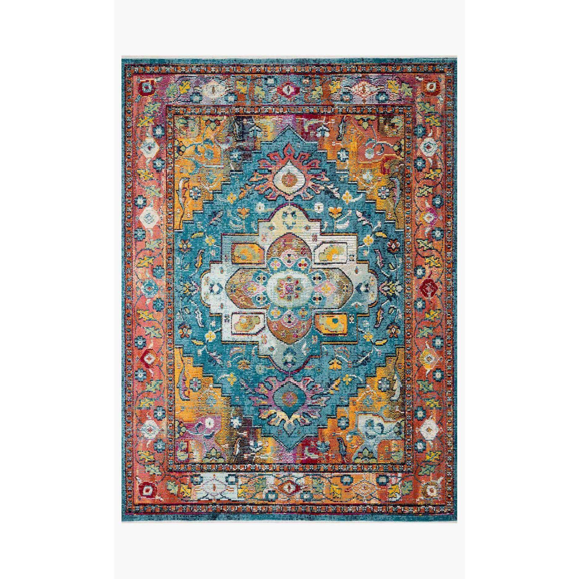 Justina Blakeney Rugs - Silvia - SIL-04 Blue/Fiesta-Loloi Rugs-Blue Hand Home