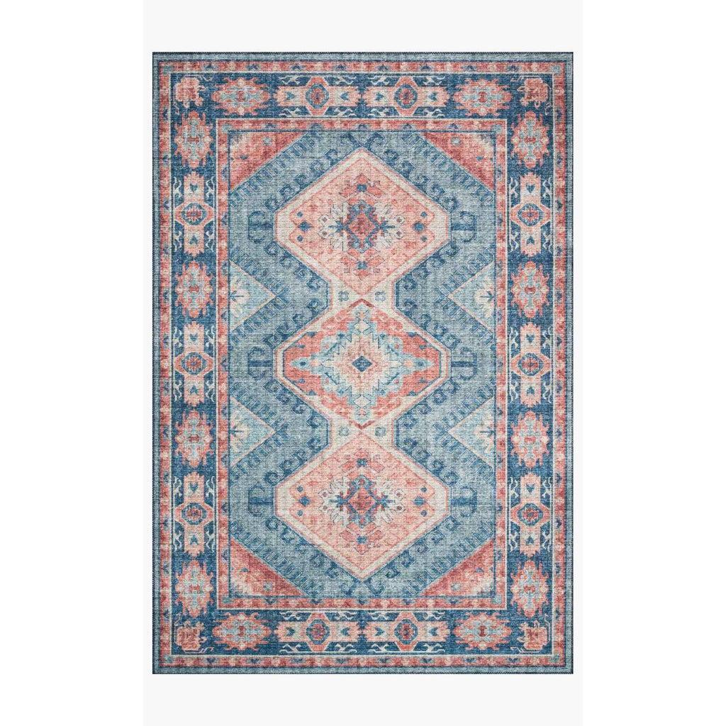 Skye Rug Collection by Loloi -Sky 03 Turquoise/Terracotta-Loloi Rugs-Blue Hand Home