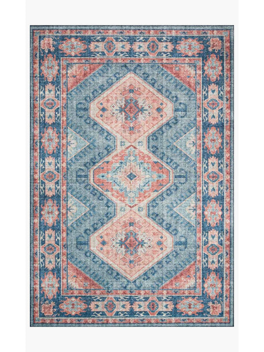 Skye Rug Collection by Loloi -Sky 03 Turquoise/Terracotta