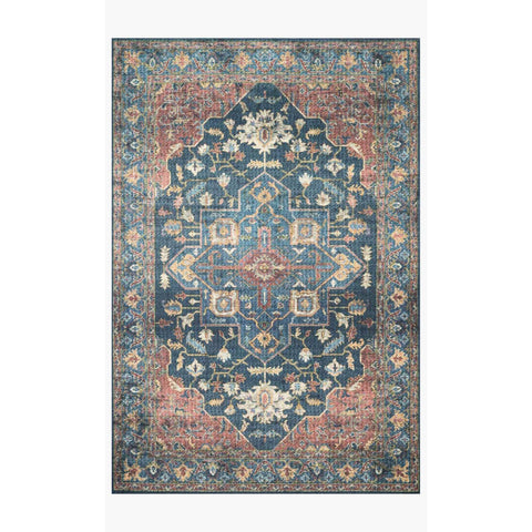 Skye Rug Collection by Loloi -Sky 08 Denim/Brick