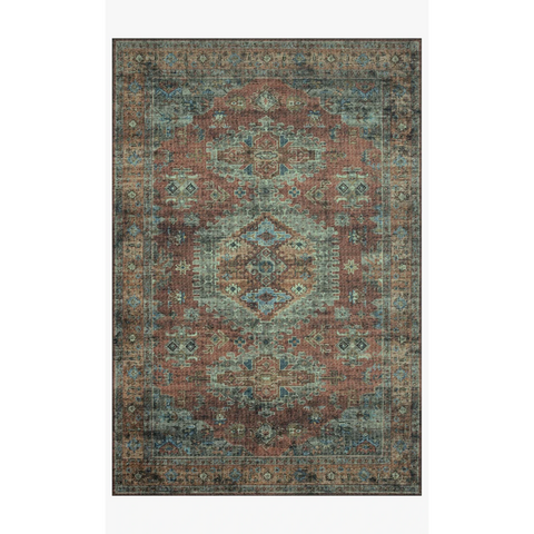 Skye Rug Collection by Loloi -Sky 07 Terracotta/Sky