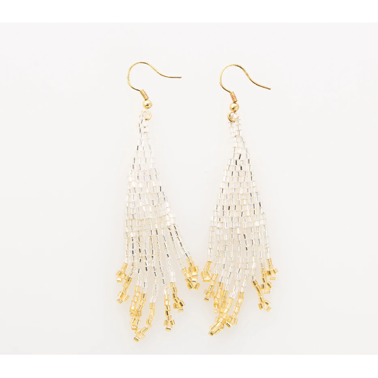 Silver And Gold Small Fringe Earring