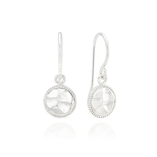 Anna Beck Small Hammered Drop Earrings - Silver