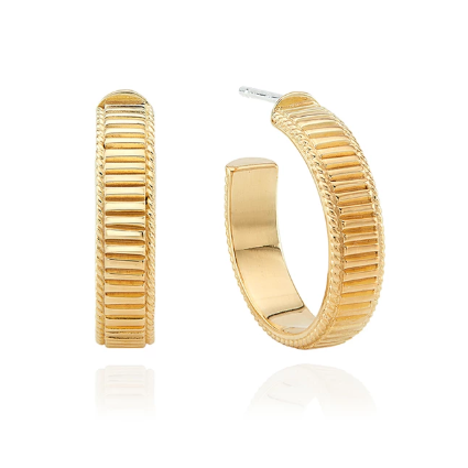 Anna Beck Small Ribbed Hoop Earrings - Gold