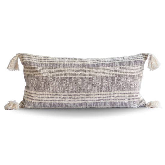 Striped Charcoal & Cream Cotton Pillow with Tassels