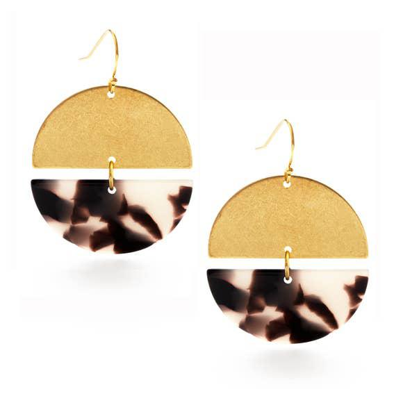 Tortoise Shell Semicircle Earrings-Mind's Eye Design-Blue Hand Home