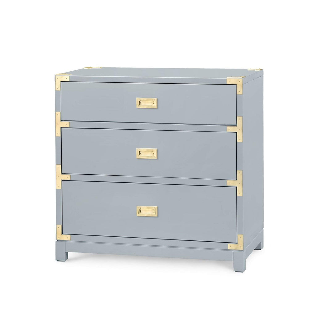 Bungalow 5 - VICTORIA 3-DRAWER SIDE TABLE in GRAY-Bungalow 5-Blue Hand Home