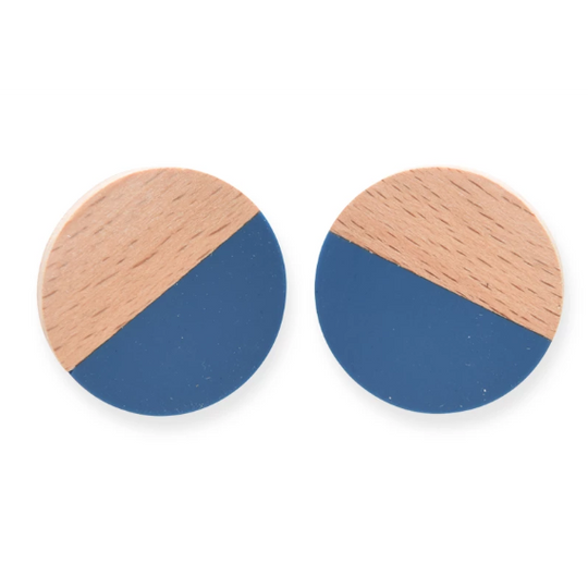 Wood & Resin Circle Post Earrings