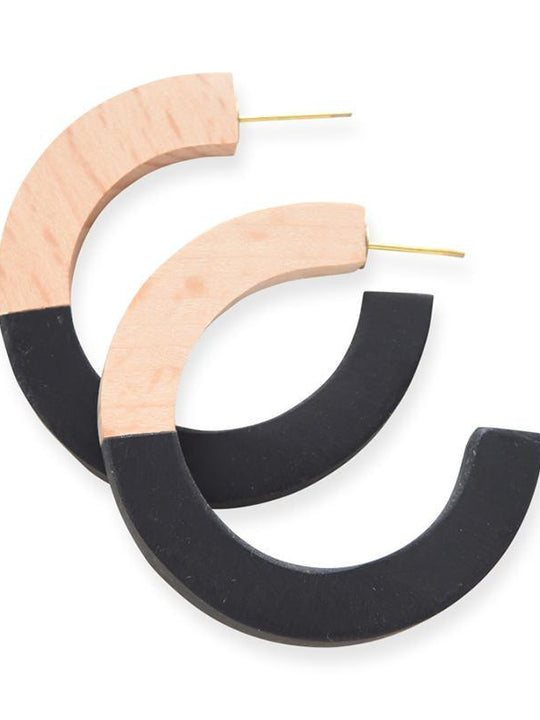 Wood & Resin Hoop Earrings
