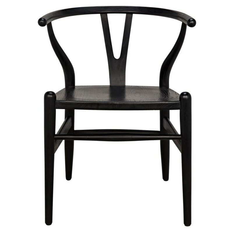 Noir Furniture Zola Chair with Rush Seat, Charcoal Black-Noir Furniture-Blue Hand Home