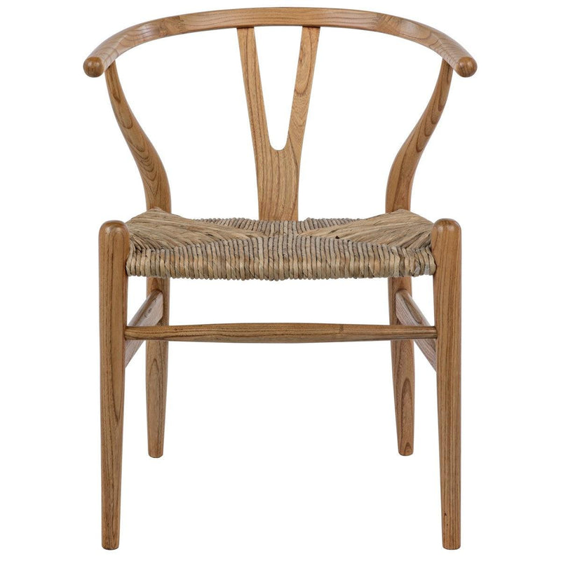 Noir Furniture Zola Chair with Rush Seat, Natural-Noir Furniture-Blue Hand Home