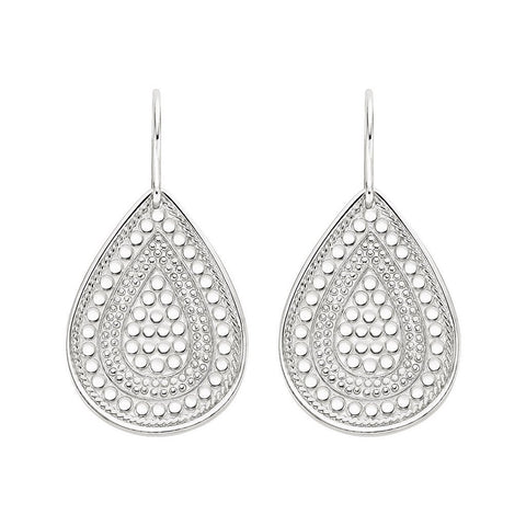Anna Beck -SIGNATURE TEARDROP EARRINGS - SILVER - Blue Hand Home