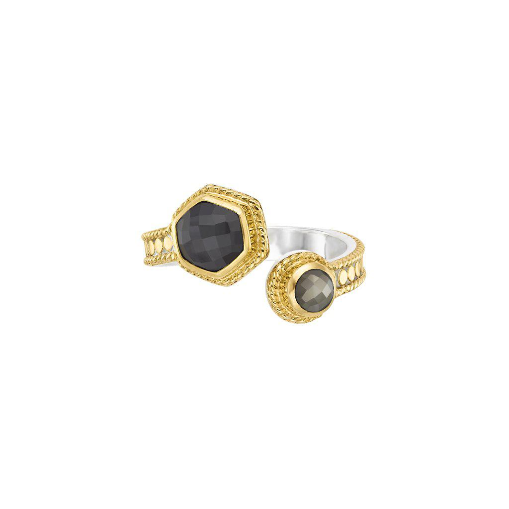 Anna Beck Grey Sapphire & Pyrite Open Ring Gold - Limited Edition